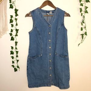 Vintage Gap Denim Dress w/ Pockets Button Closure